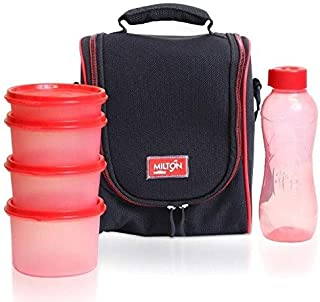 Milton LUNCH BAG ~ SET of 6 ~ Insulated Lunch Box With Reusable and Leak Proof Containers and Water Bottle Double Zipper Lunch Bag For Adults and Kids ~Great for School~ Black