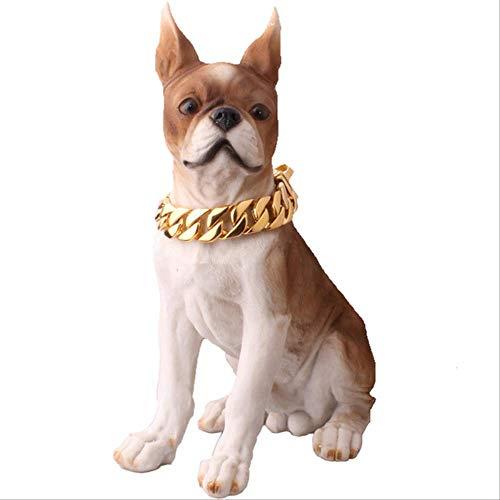LYXL Goldenes Hundehalsband Hundehalsband Halskette Haustier Welpe Edelstahl Curb Cuban Pet Kettenhalsband Hund Prise Halsbänder Große Hunde 24 Zoll oder 61 cm Gold