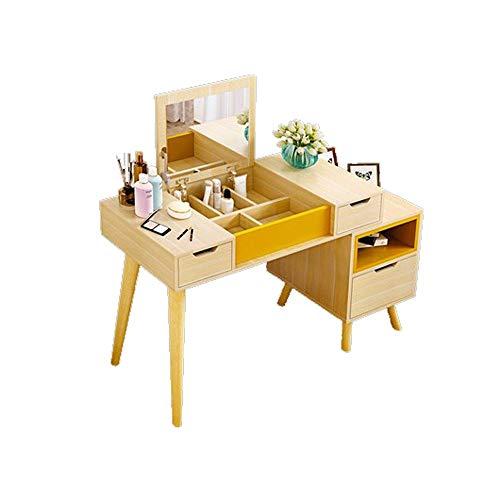 WZHZJ Aparadores for el Dormitorio Moderno Minimalista nórdico de Tablas de Estilos de Maquillaje con la luz Pequeño Apartamento Vestir Maquillaje Tabla