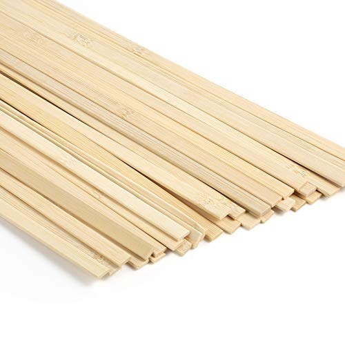 Caydo 64 Pieces Natural Bamboo Sticks Wood Extra Long Sticks for Crafting (15.7 Inches Length x 3/8 Inches Width)
