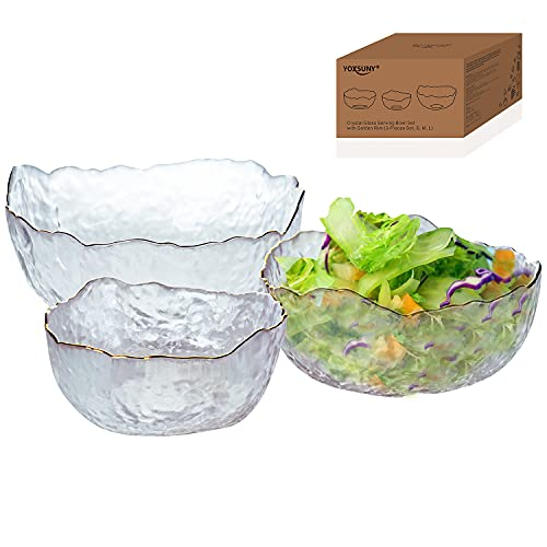 Glass Bowl by YOXSUNY Serving Bowl Set with Golden Rim in Organic Shape. Salad Bowl Set of 3 Sizes (400ml) (600ml) (1100ml)For Salad Snacks Popcorn Candies Etc.