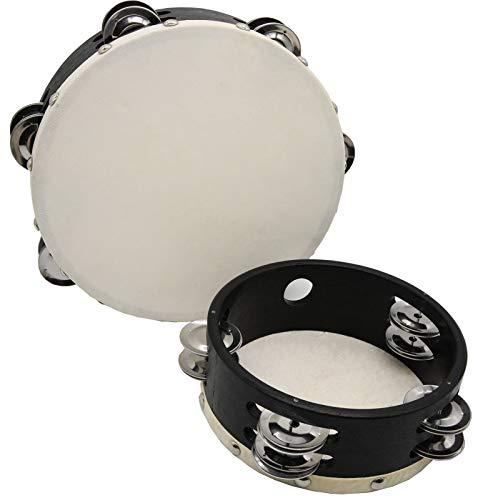 Wood Handheld Tambourine Double Row,Tambourines with Jingle Bells,2 PCS (6 Inch and 8 Inch) for Church,Karaoke,Jam Sessions for Adults,Kids - Hand Held Drum Percussion Musical Panderetas Instrument
