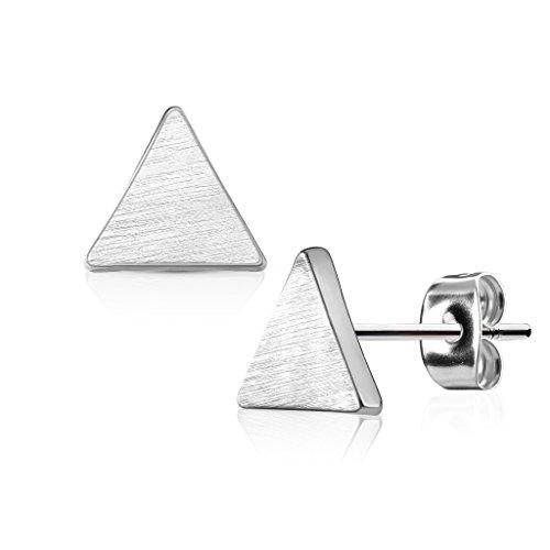 KULTPIERCING - Ohrringe Dreieck Brushed Finish 1 Paar Ohrstecker 316 L Chirurgenstahl/Edelstahl Damen Schmuck Ohr-Schmuck Studs - Silber