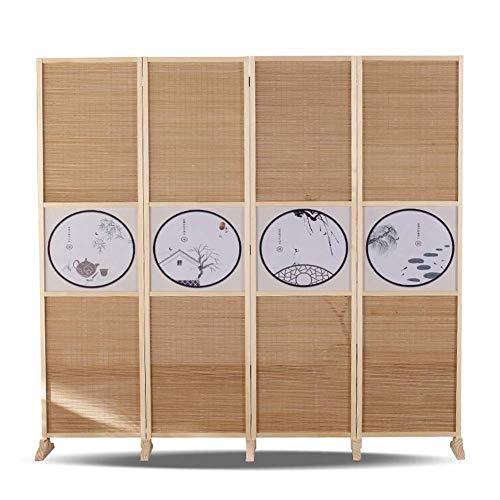 HXCD Divisor de Habitaciones, 4 Paneles de partición de la habitación, Tejido de bambú, Pantalla de Lona de Pared de partición Plegable, patrón poético (tamaño: Alto 150 cm)