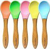 BUABI Set de cucharas de bambú y silicona, para bebé. Producto Ecológico y sin BPA