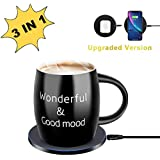 Mug Warmer, Coffee Mug Warmer with Wireless Charger (3 in 1), Wireless Charging, Constant Temperature for Keeping Warm (about 122°F/50°C),Best Gift Idea, Office/Home Use Electric Cup Beverage Plate,Cocoa,Milk,Water