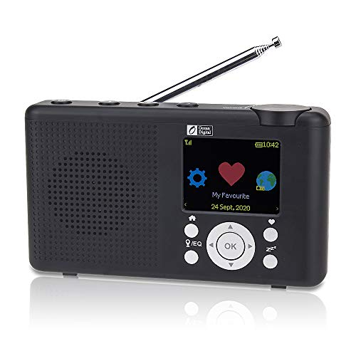 "Ocean Digital WR-23D Radio Internet Portable 2,4 ""Couleur LCD Rechargeable Batterie Wi-FI Bluetooth UPnP & DLNA Player Sleep Timer (Noir)"