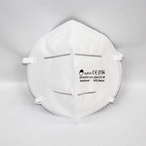 Hochwertige FFP2 NR Atemschutzmasken mit Kopfband in hygienischer luftdichter Einzelverpackung, mit CE0194 von notifizierter Stelle INSPEC aus UK, 10 STK.