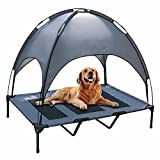 PetierWeit Elevated Dog Bed XLarge Raised Pet Cot with Canopy Portable Dogs Mesh Bed with Removable Sunshade Cooling Mesh Bed for Dogs for Indoor and Outdoor with Carrying Bag