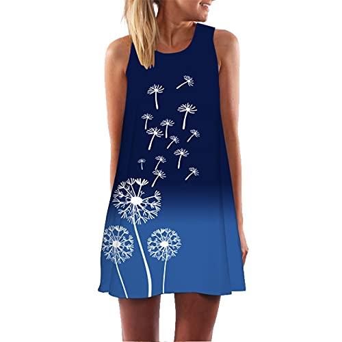Señoras 3D Impresión Digital Cuello Redondo Fuera del Hombro Camisola Big Swing Vestido Suelto De Longitud Media Vestido De Fiesta Vestido De Sol Vestido Sexy Vestido De Playa M
