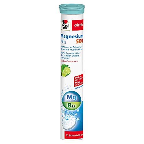 Doppelherz Magnesium 500 Brausetabletten – mit Magnesium & Vitamin B12 zur Unterstützung der Muskelfunktion – 15 Brausetabletten