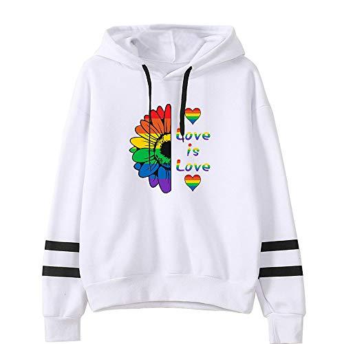 Love is Love LGBT Gay Lesbian Pride Sudaderas con Capucha Mujer Deportes Casual Manga Larga Forro de Terciopelo Hip Hop Suelto Sudaderas Pull-Over Tops