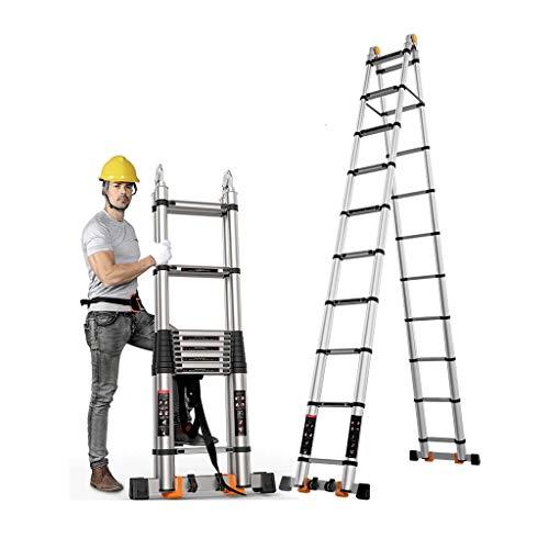 YTC 4.4M Dubbele Telescopische Ladder Multifunctioneel Opvouwbaar Uitschuifbaar Aluminium Een Frame Loft Stap Ladder Max 150kg