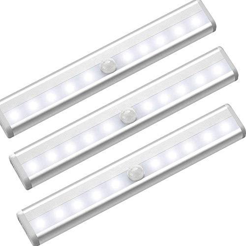 Lote de 3 luces para armario de 10 ledes con sensor de movimiento inalámbrico a pilas, lámpara de armario LED con banda magnética para armarios, escaleras, cajones, pasillos