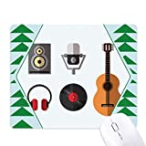 Tappetino per mouse in gomma con cuffie e microfono, motivo musicale, albero di pino verde...