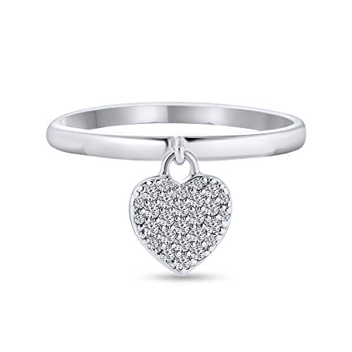 Simple Delicate 925 Sterling Silver Pave Dangle Heart Charm Ring For Teen For Girlfriend 1MM Thin Band