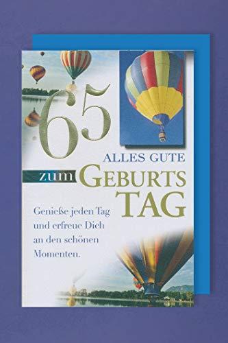 65 Geburtstag Karte Grußkarte Heißluftballon Foliendruck 16x11cm