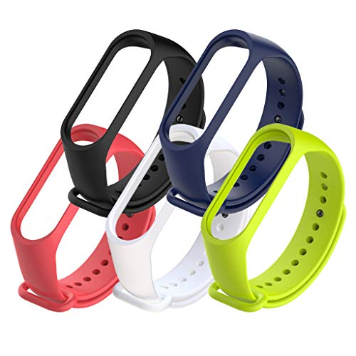 5 Pcs Xiaomi Mi Band 4 Strap Bracelet Replacement Silicone Strap for Xiaomi Mi 3/4 Band Smart Watch Wristband Waterproof Wearable Breathable (Color 2)