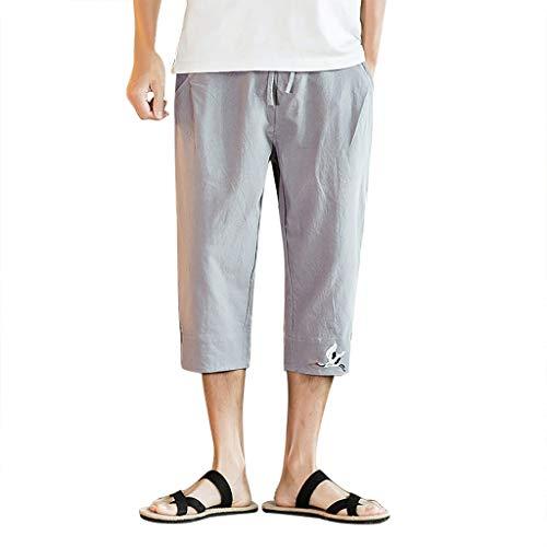 Eternali Herren Mens Casual Leinen Chino Shorts Sport Shorts Elastische Taille Taschen Hosen Strand Hotspring Surfen Badehose Hosen Badeshorts Swim Shorts