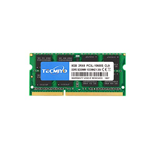 TECMIYO 8GB 2RX8 PC3-10600S DDR3 1333MHZ SODIMM DDR3L PC3L 10600 CL9 1.35V/1.5V 204Pin Dual Rank Non-ECC Unbuffered Laptop RAM for Intel AMD and Mac Computer