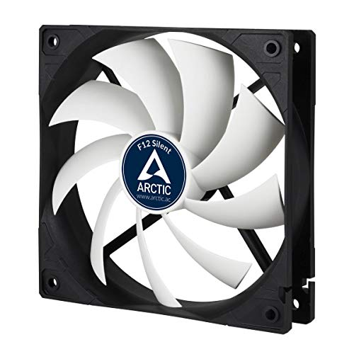 ARCTIC F12 Silent - 120 mm Case Fan, Extra quiet motor, Computer, Almost inaudible, Push- or Pull Configuration, Fan Speed: 800 RPM - Black/White (ACFAN00027A)