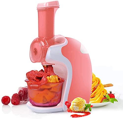 LIOYUHGTFY Maquina de Helados Heladera para el hogar, electrónica para postres de Frutas congeladas, Hacer Helados Veganos, postres, batido de Gelato, operación Simple, Color Rosa 916(Color:Pink)