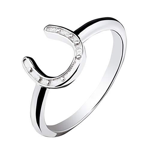 VENSERI 925 Sterling Silver Horseshoe Ring Western Ring Good Luck Horseshoe Ring U Ring Simple Ring for Women Birthday Gift Thanksgiving Gift (White, 7)