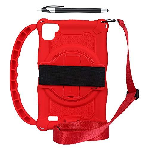 BOINN Funda de Silicona para Teclast P80 P80X P80H Tablet de 8 Pulgadas Funda AnticaíDa para Tableta Soporte para Tableta con Asa y Correa (Rojo)