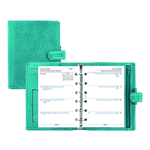 Filofax Finsbury Organizer, Pocket Size, Aqua – Traditional Grained Leather, Six Rings, Week-to-View Calendar Diary, Multilingual, 2022 (C025445-22)