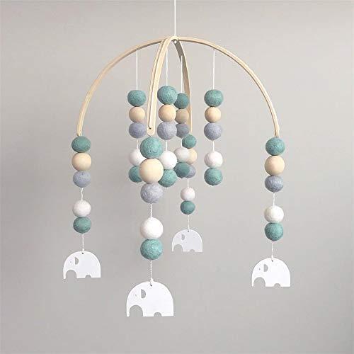 Nicole Knupfer Sonajero móvil para cuna de bebé, juguete para recién nacidos, campanas de cama, decoración de madera, regalo para bebés niñas o niños (verde + elefante)