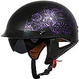ZHXH Harley Casco da moto, uomo adulto e donna Seasons Retro Frp Riding Half Half Helmet con Dot Dot Certification (m, L, Xl, Xxl) Una varietà di optional,