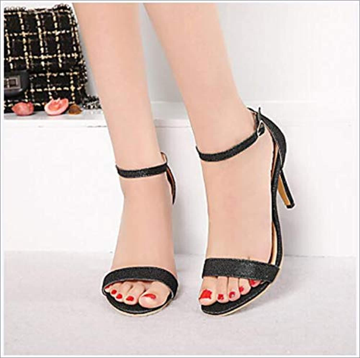 Women's shoes Leatherette Spring Summer Comfort Sandals Stiletto Heel Open Toe Buckle gold Black Silver,B,US8.5 EU39 UK6.5 CN40