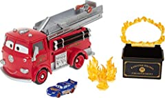 Stunt and Splash Red is packed with fun features for all kinds of ways to play with Color Changers vehicles! Fill the water tank, and use the fire hose to turn a Color Changers vehicle a new color! (One Exclusive 1:55 Color Change Lightning McQueen v...