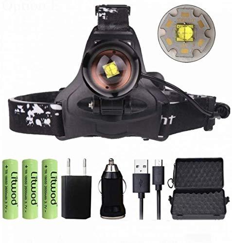chuanghong Linterna Frontal LED XHP70.2 Linterna Recargable 5000LM Pesca De Alta Potencia Xhp70 Xhp50 Lámpara De Cabeza Luz De Zoom