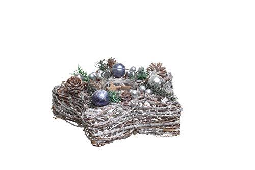 Heitmann Deco dekorierter Kerzenhalter - Stern - Advent - Deko - Schmuck - Tannenzweige - Kugeln - Natur, Silber - ca. 36 x 15 x 10 cm