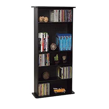 Atlantic Drawbridge Media Storage Cabinet - Store & Organize A Mix of Media 240Cds 108DVDs Or 132 Blue-Ray/Video Games Adjustable Shelves PN37935726 in Black