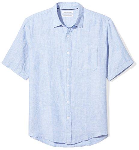 Amazon Essentials Men's Regular-Fit Short-Sleeve Linen Shirt, Blue, Large