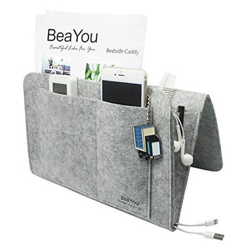 Bedside Pocket, BeaYou Bedside Caddy Hanging Storage Organizer Inside with 5 Small Pockets for Phone, iPad, Book, Pen, Remote, Glasses, Perfect for Bunk Beds or Sofa - Grey Felt