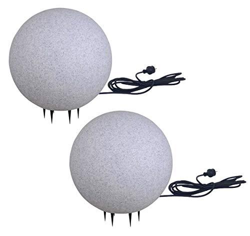 Trango 2er Set 300G Gartenkugel IP65 Kugelleuchte 30cm Durchm. in Granitstein-Optik mit je 5 Meter Zuleitungskabel & E27 Fassung Kugellampe, Gartenleuchte, Außenleuchte, Außenlampe, Wegbeleuchtung