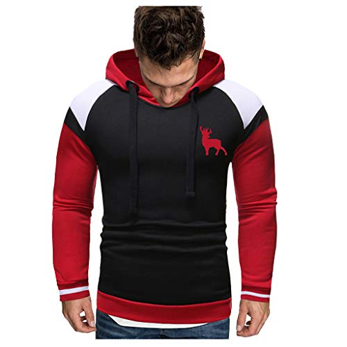 Great Deal! WYTong Men's Hooded Pullover Long Sleeve Casual Sweatshirt Print Top Blouse Tracksuits(Black,S)