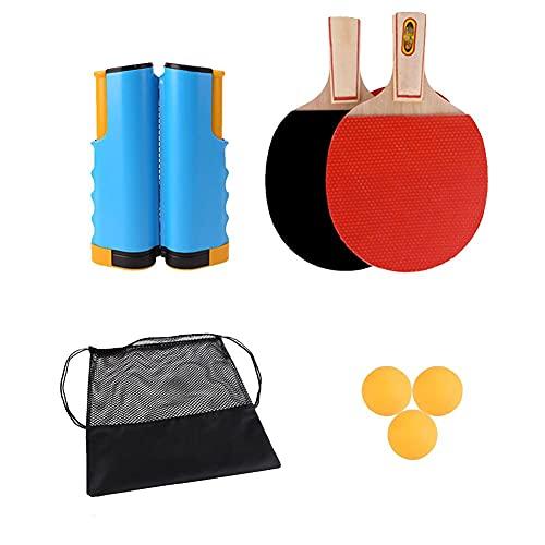 Akpo Tischtennis-Set - Beinhaltet Tischtennis-Netz für jeden Tisch, 2 Tischtennis-Paddel/Schläger, 3 Tischtennis-Bälle, tragbares Tischtennis-Set-Tischtennis Yellow