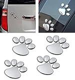 LZLRUN 3D Chrome Dog Paw Footprint Sticker Decal Auto Car Emblem Decal Decoration (Silver)