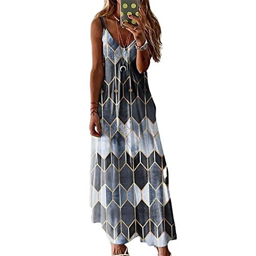Damska Patchwork Kolor Druku Tank Sukienki Lato Geometryczna Wzór Bez Rękawów Głęboka Dekolt Casual Długa Sukienka Maxi Letnie ubrania na co dzień (Color : Grey, Size : Small size)