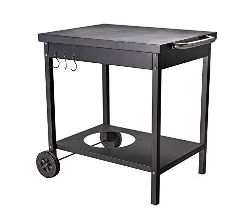 ACTIVA - Tavolino per barbecue con trolley per barbecue Plancha, lunghezza 73 x larghezza 55 x altezza 77 cm, in metallo con grande superficie di appoggio, carrello per grigliare, cucina all'aperto