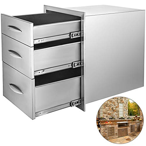 Mophorn Outdoor Kitchen Drawers Stainless Steel 17.7x20.5 Inch Triple Drawers with Chrome Handle BBQ Drawers for Outdoor Kitchens BBQ Island