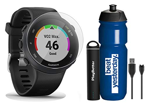 Garmin Forerunner 45 (Black) Running GPS Watch Runner Bundle | +Garmin Water Bottle, HD Screen Protectors & PlayBetter Portable Charger | Garmin Coach, Heart Rate, Body Battery, Smart Notifications