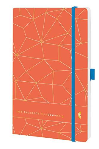 Chronoplan 50431 Buchkalender Kalendarium 2021, ca. A6 Softcover, Wochenplaner (95x140mm, 1 Woche auf 2 Seiten), Lattice, Lux Coral