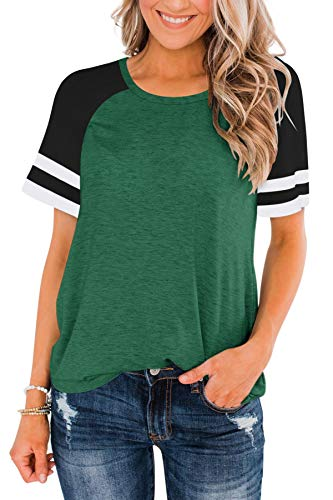 LASLULU Short Sleeve Shirts for Women Color Block Striped Tee Crew Neck Casual Tunic Tops Workout Yoga Athletic T-Shirt Loose Fit Blouses Running Sport Shirts Activewear(Green Small)