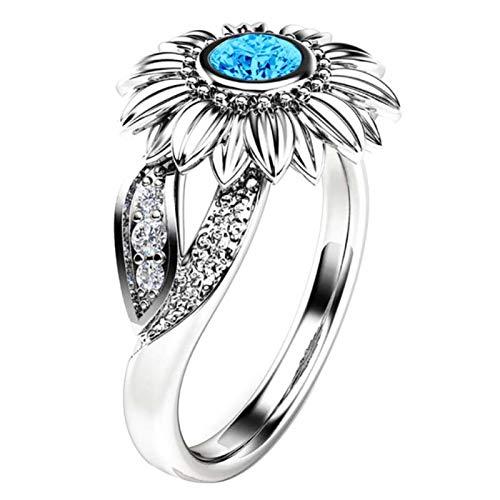 Anillos de nudillos para dedos, moda para mujer, diamantes de imitación incrustados de girasol, anillo de dedo para boda, fiesta, regalo – plata + azul océano * US 11
