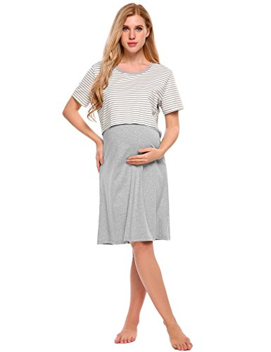 Ekouaer Womens Maternity Nursing Nightgown Striped Breastfeeding Sleep Dress,S-US12-14,Style 1-grey